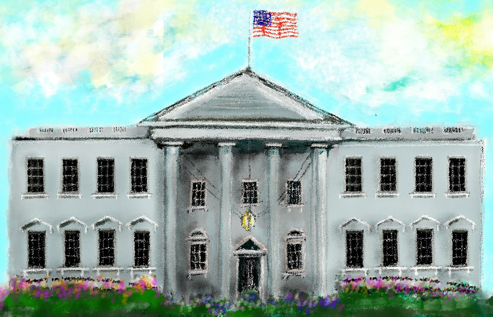 Still a #workinprogress , but time is short ;)  #FreeToEdit  #wdpthewhitehouse  #handdrawn    #whitehouse  #flag #windows #grey  #gray  #blue #red #white #building #semi-impressionist